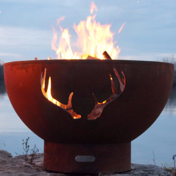 Fire Pit - Antlers Wood Burning Outdoor Carbon Steel By Fire Pit Art ANTLERS