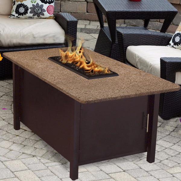 Gas Fire Pit - Carmel Rectangle Chat Height Fire Pit Coffee Table