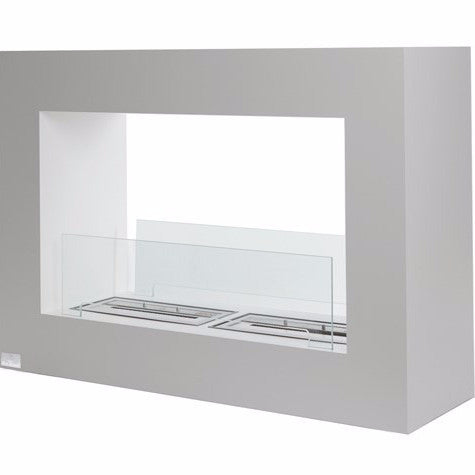BB-QLW Bio-Blaze Qube Large Free Standing Fireplace - White Ventless Ethanol 0726670568922
