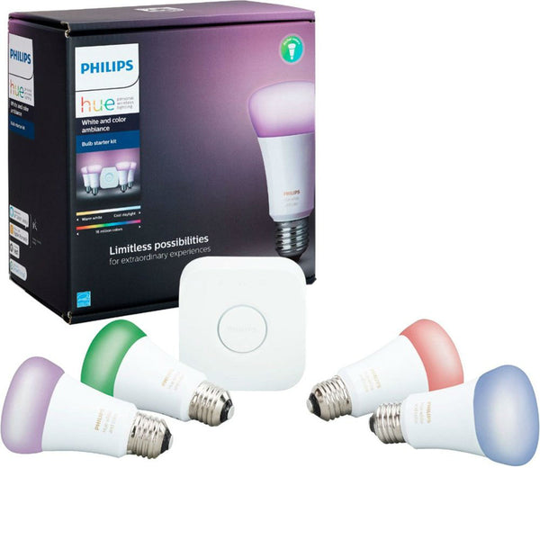 HUE 9.5W WHITE AND COLOR AMBIANCE SMART WIRELESS LIGHTING STARTER KIT (4 Pack) image 12176300540019