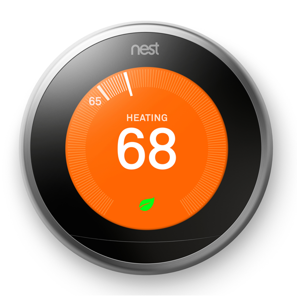 3rd gen Nest Learning Thermostat Heating Front Image