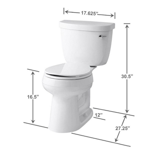 KOHLER Cimarron Complete Solution 2-piece 1.28 GPF Single Flush Round Toilet in White image 25737529614