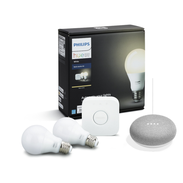 Hue White A19 LED 60W Equivalent Dimmable Smart Wireless Lighting Starter Kit with Google Home Mini
