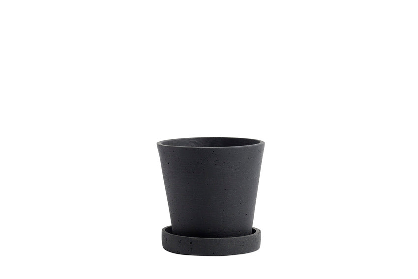Flower Pot with Saucer - Black
