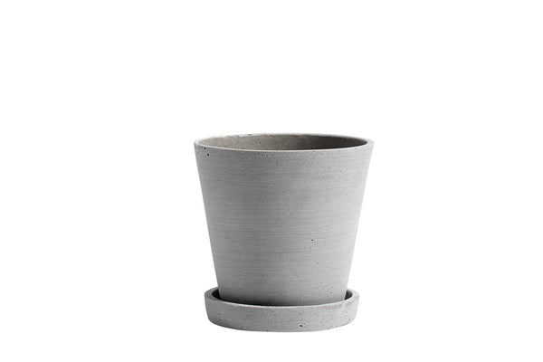 Flower Pot with Saucer - Grey