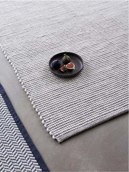 Rug - Woven - Wool & Cotton - Grey/White