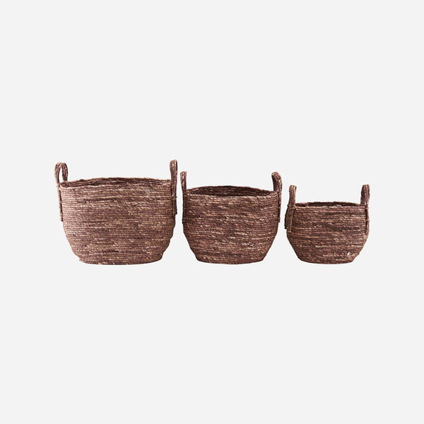 Basket with Handles - Arran - Straw - Red/Brown