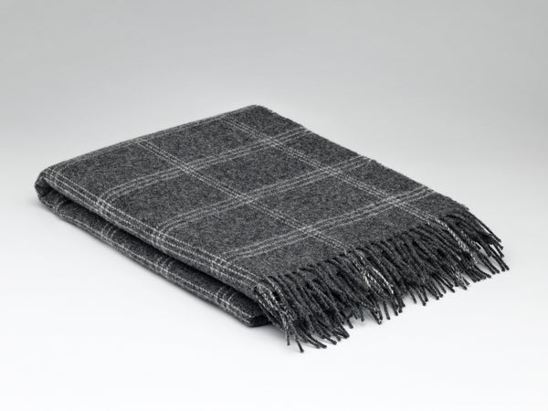 Irish Wool Blanket - Charcoal Windowpane