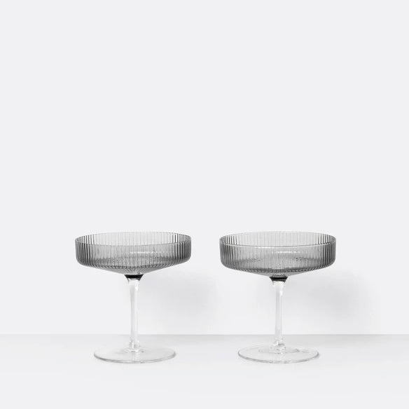 Champagne Saucers -Ripple - Set of 2 - Smoked Grey