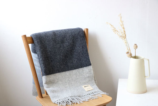 Irish Lambswool Blanket - Charcoal Stripe