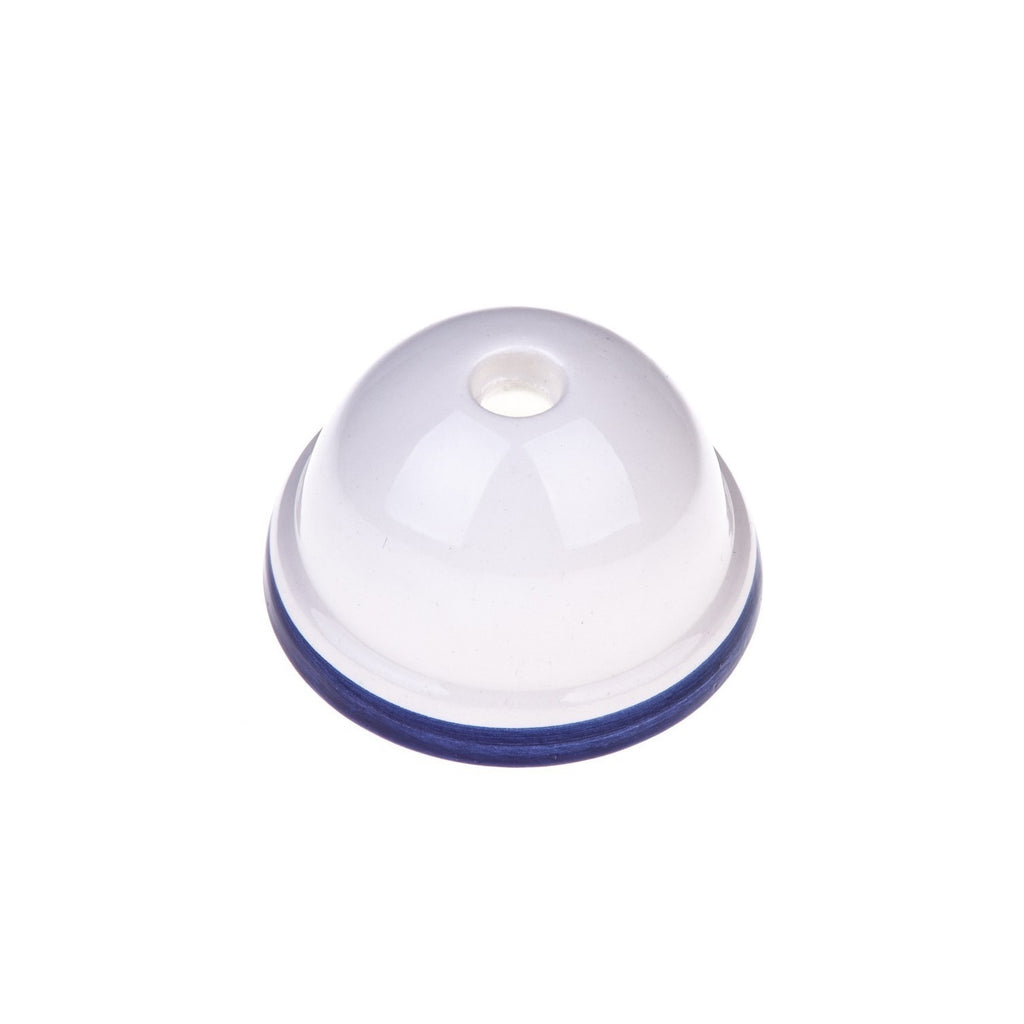 Ceiling Rose - Ceramic - Dome - White with Blue Rim