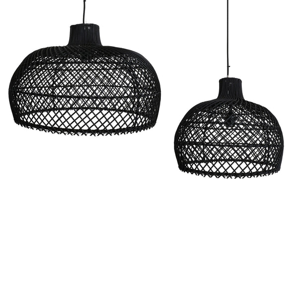 Maze Lamp Shade with Pendant - Rattan - Black