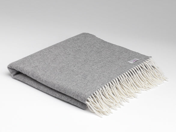 Irish Lambswool Pashmina - Grey Reversible