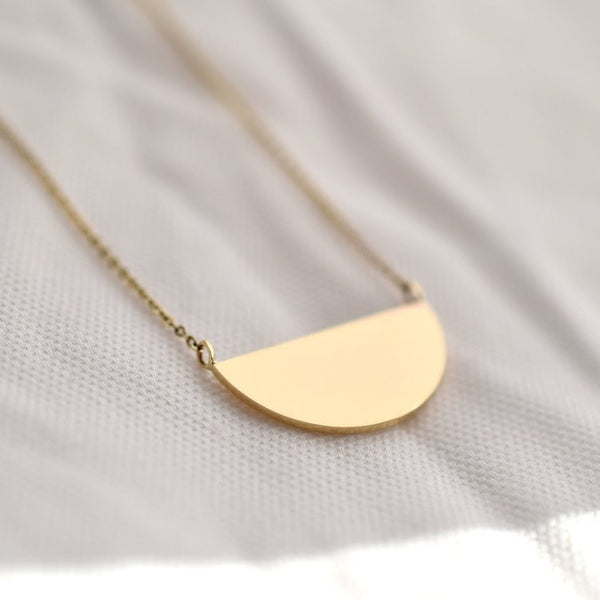 Necklace - Half Moon - 9ct Gold