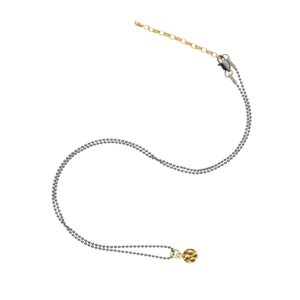 Necklace - Tiny Disc- 14Kt Gold Fill/Oxidised Sterling Silver Chain