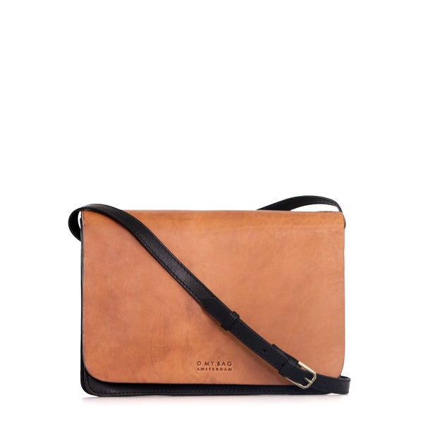 Bag - Audrey - Eco Classic Leather - Black/Cognac