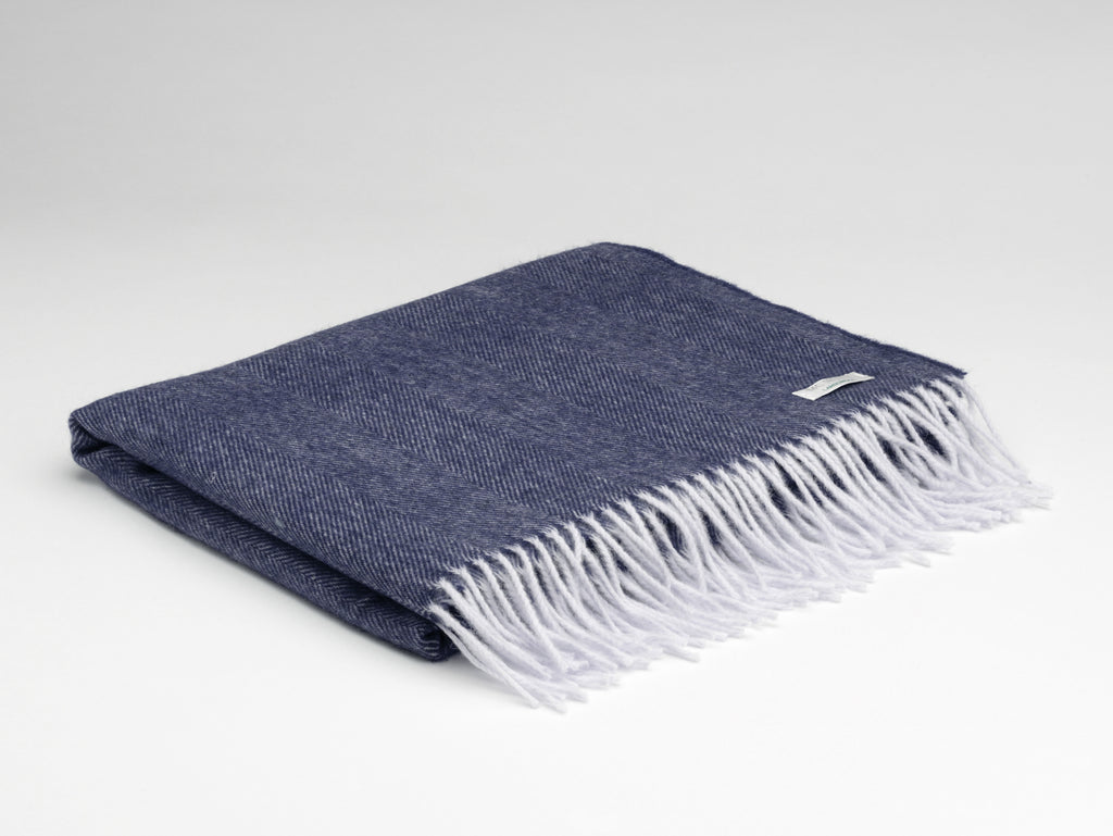 Irish Lambswool Pashmina - Navy Herringbone