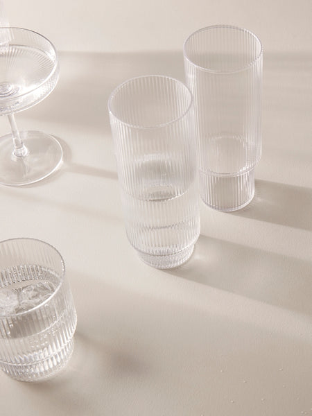 Glasses - Ripple - Long Drink - Clear