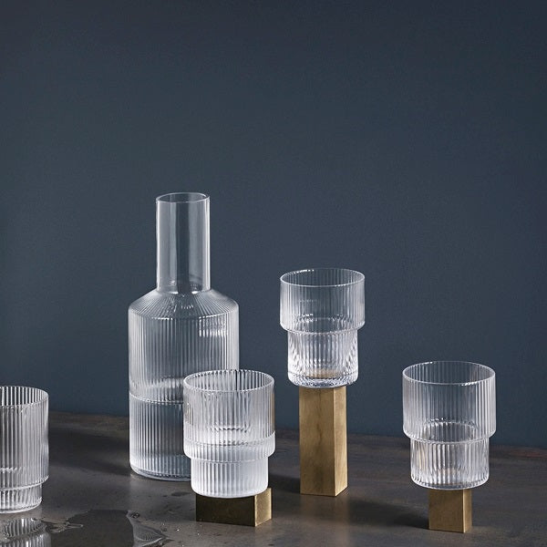Glass - Ripple - Stackable - Set of 4
