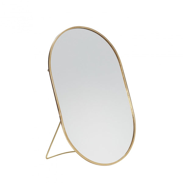 Table Mirror with Foot - Brass