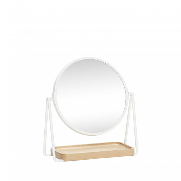 Table Mirror with Wooden Tray - Metal - White