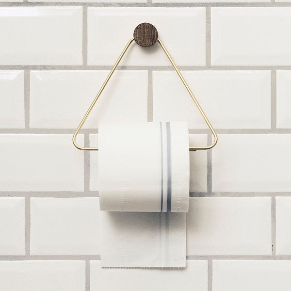 Toilet Paper Holder - Brass & Oak