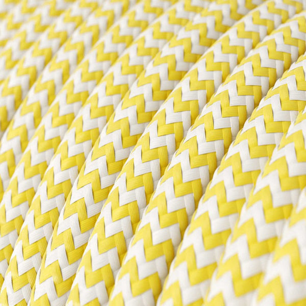 Cable - 2 Core - Rayon - Zig Zag - Yellow & White