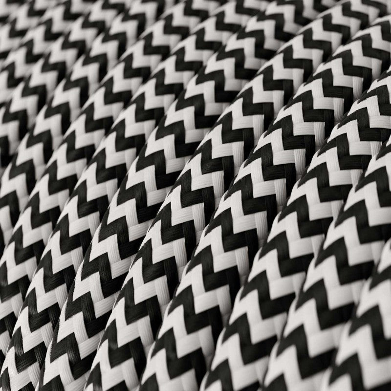 Cable - 2 Core - Rayon - ZigZag - Black & White