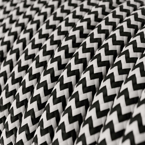 Cable - 3 Core - Rayon - ZigZag - Black & White