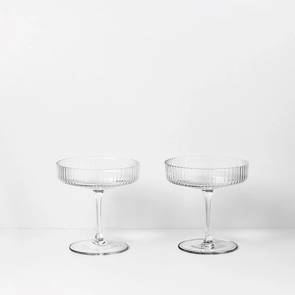 Champagne Saucers - Ripple - Set of 2 - Clear