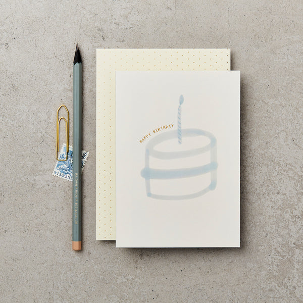 Greeting Card - Blue Birthday Cake - Happy Birthday