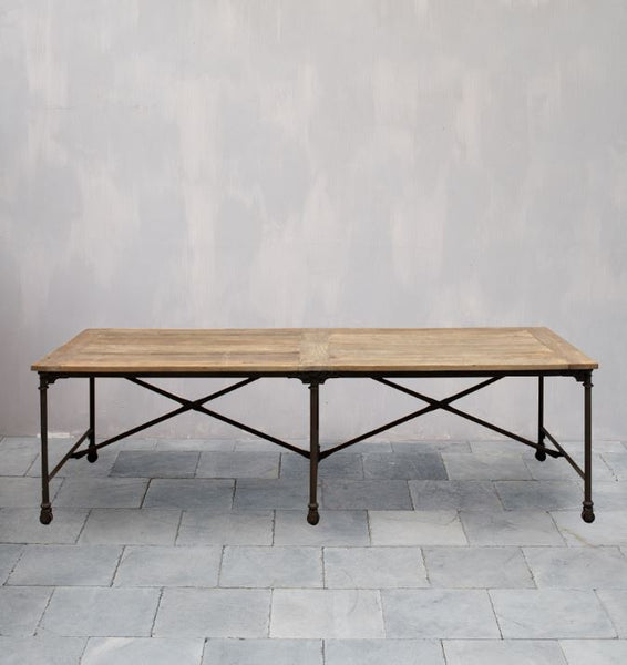 Elm Dining Table with Metal Base
