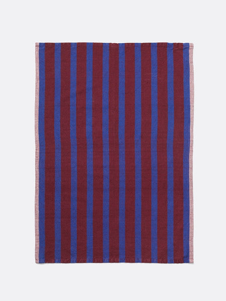 Tea Towel - Hale - Cotton & Linen - Burgundy/Navy Blue
