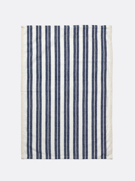 Tea Towel - Hale - Cotton & Linen - Off-White/Blue