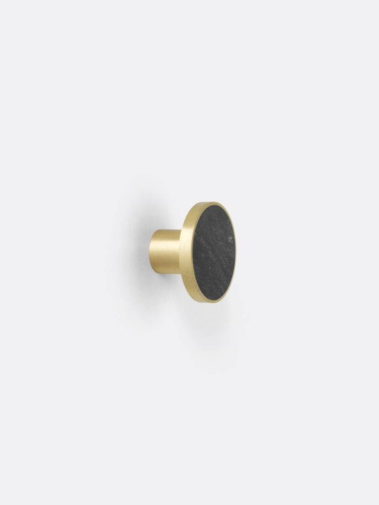Hook - Brass - Black Marble - Large