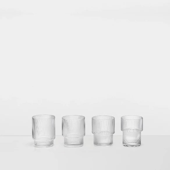 Glass - Ripple - Set of 4 - Stackable - Clear