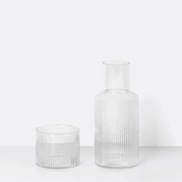 Glass & Carafe Set - Ripple - Clear