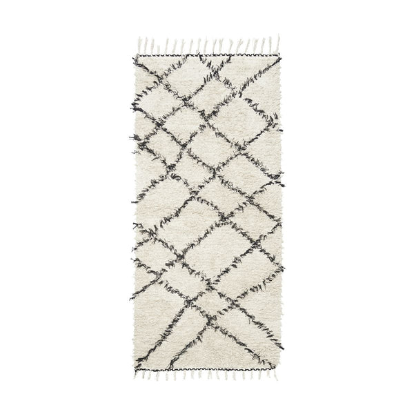 Rug - White with Black Pattern - 100% Cotton