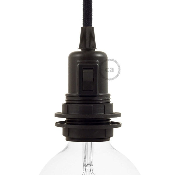 Bulb Holder W/Switch & Shade Rings -  E27 - Thermoplastic - Black