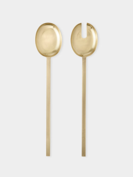 Salad Servers - Stainless Steel/ Brass Coated
