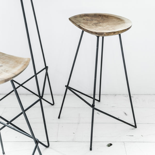 Bar Stool - Teak & Iron