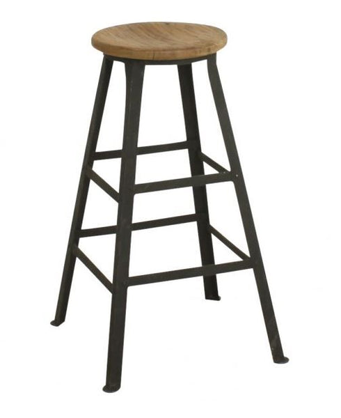 Stool Without Backrest - Teak & Metal