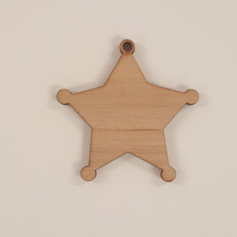 Wood Ornaments Sheriff Optional Hole (Unit.Price)
