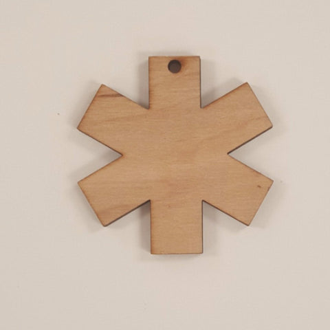 Wood Ornaments Paramedic Symbol Optional Hole (Unit.Price)