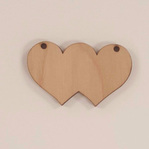 Wood Ornaments Double Heart Optional Holes (Unit.Price)
