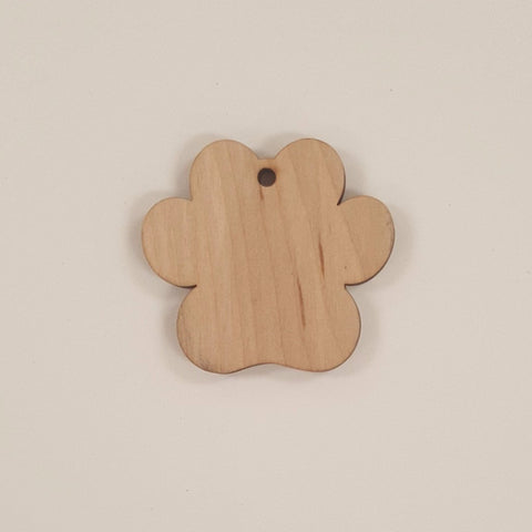 Wood Ornaments Paw Print Optional Hole (Unit.Price)