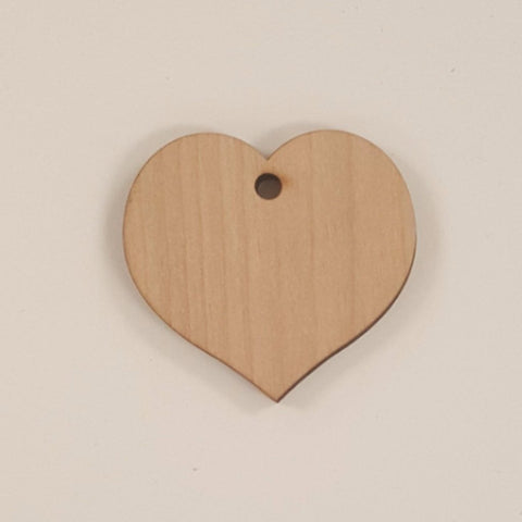 Wood Ornaments Heart Optional Hole (Unit.Price)