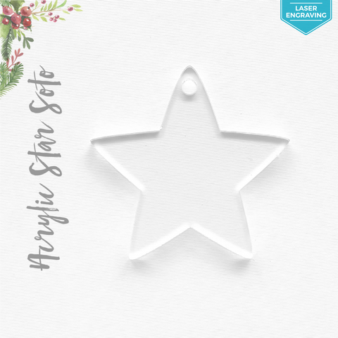 Laser Engraving Acrylic Christmas Ornaments Stars Soto