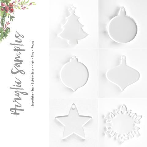 Acrylic Christmas A Ornaments Samples (Pack 24 Units)