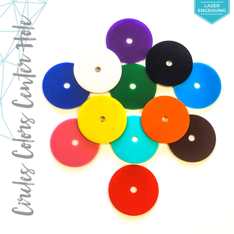 "Laser Engraving Acrylic Circle Colors With 1/4"" Center Hole (Package.Price)"